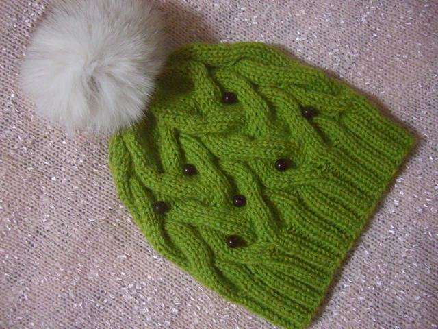 Hat with a bouquet. Knitted from merino + mix yarn.